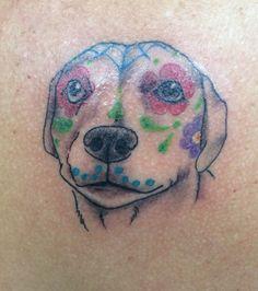 Dawn's dog portrait with sugar skull decor#tattoos#vodoutattoos#dogportraittattoos#sugarskulls
