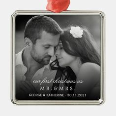 Mr & Mrs First Christmas Wedding Photo Ornament - tap, personalize, buy right now! #fatfatin, #couple, #our, #mr #and