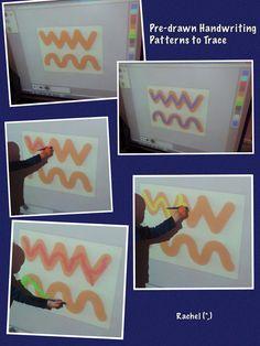 "Tracing handwriting patterns on the Interactive Whiteboard - from Rachel ("",) Kids handwriting fun Writing Area, Pre Writing, Writing Skills, Montessori, Eyfs Activities, Morning Activities, Listening Activities, Motor Activities, Handwriting Activities"