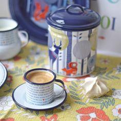 2 tasses à café Folklore en émail - deco-graphic.com