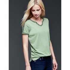 Gap Women Embroidered Tee ($23) ❤ liked on Polyvore featuring tops, t-shirts, gasoline green, regular, short sleeve t shirts, green v neck t shirt, short sleeve v neck t shirt, relax t shirt and embroidered top