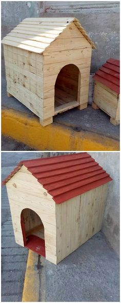 Such an adorable and cute looking pet house out of the wood pallet has been crafted at the best. This pet house has been stylish put together with the hut shape of the crafting that is looking so pleasant and lovely with red hues paint effect.