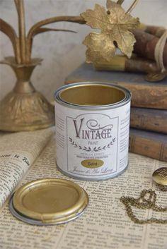 Jeanne d' Arc Living Vintage Paint Metallic Effect Gold/Goud Gold Paint Colors, Metallic Paint Walls, Gold Painted Walls, Gold Walls, Metallic Painted Furniture, Gold Furniture, Chalk Paint Furniture, Furniture Redo, Repurposed Furniture