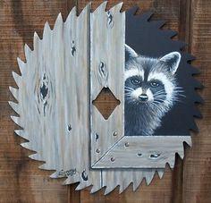 Hand Painted Raccoon Saw Blade 7 1/4