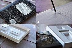 How to turn a composition notebook into an iPad cover. DIY tutorial via lilblueboo.com... Uses the package insert.