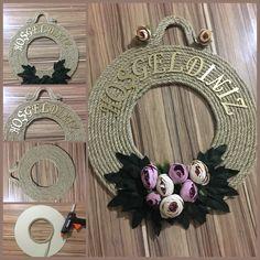 Door trim / Door ornament Wicker rope / Door ornament making with Rope DIY / DIY Jute Crafts, Diy And Crafts, Rope Decor, Door Trims, Diy Supplies, How To Make Ornaments, Modern House Design, Diy Flowers, Grapevine Wreath