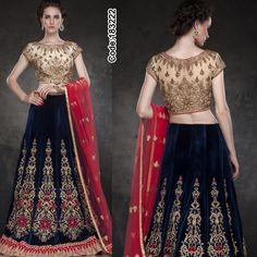 Classic #Bridal Lehenga designed with #velvet fabric along with #resham embroidery!   #DeepBlue #Beige #Pink #Lehenga #LehengaCholi #FloralMotif #Volume #Layers #Embroidery #Designer #Occasion #IndianDresses #Partywears #Indian #Women #Bridalwear #Fashion #Fashionista #OnlineShopping