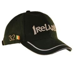 65078daa77a12 Baseball Cap With Ireland 32 Lettering and White Piping Detail- Green  Colour - CG11ZF0TNBT