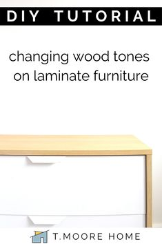 Changing Wood Tones On Laminate Furniture Diy Dresser Makeover, Diy Nightstand, Furniture Makeover, Diy Furniture Hacks, Furniture Fix, Painted Furniture, Laminate Furniture, Wood Laminate, Wood End Tables