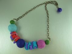 Felt Necklace, Centerpiece Made of Scraps of Recycled Felted Sweaters and Felt Balls, Finished with Vintaj Brass Chain and Clasp, 18 inches