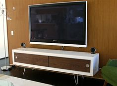 Lack shelf turned into mid-century modern media cabinet