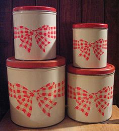 Set of 4 Vintage Red Gingham Bow Tin Kitchen Canisters Ribbon Farm Country❤❤❤