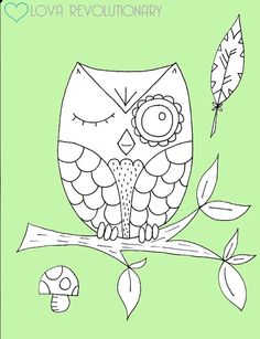PDF Pattern Owl Winking Cute Branch Tree Hand Embroidery Hand Sewing