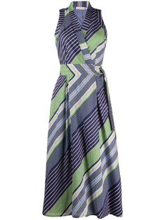 Multicoloured cotton striped-print wrap dress from Tory Burch featuring a flared style, a striped print, a v-neck, a wrap style front and a mid-length. Tory Burch, Runway Fashion, Fashion Fashion, Fashion Trends, Holiday Wear, Michael Kors Outlet, Fashion For Women Over 40, Print Wrap, Stripe Print