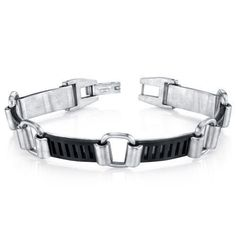 Mens Urban Class Matte Finish Two Tone Stainless Steel Bracelet