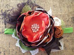 Calabazas en la parte superior cinta para la cabeza, diadema de la couture, sobre el arco superior, venda del bebé, diadema de flores, cinta marrón, caída de diadema