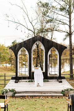 Two Animal-Lovers Get Married in Alabama (The Perfect Palette) Chapel Wedding, Farm Wedding, Wedding Events, Rustic Wedding, Wedding Ceremony, Wedding Ideas, Church Ceremony, Wedding Arches, Wedding Decor