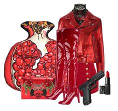 """Pomegranate, Lipstick & Glock! Good To Go!!"" by flippintickledinc ❤ liked on Polyvore featuring Pierre Balmain, Silken Favours, IRO, NARS Cosmetics, GEDEBE and Stuart Weitzman"