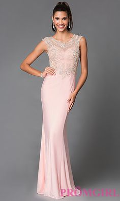 Floor Length Long Prom Dress With Beaded Illusion Cap Sleeves at PromGirl.com