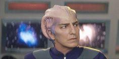 Alan Rickman in Galaxy Quest-alien-makeup, looking very very very confused.