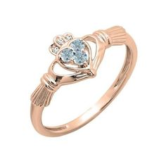 Promise Irish Love And Friendship Band Claddagh Heart Shape Ring 0.15... ($109) ❤ liked on Polyvore featuring jewelry, rings, rose, heart shaped rings, heart crown ring, heart shaped aquamarine ring, rose gold heart ring and heart band ring