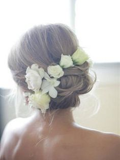 Wedding, Flowers, Hair, White, Green, Flower