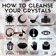 Do you know that crystals tend to absorb all the energies around and that you need to cleanse them once in a while? Here are some tips of how you can cleanse and charge your crystals: Use water. You can add sage lavender or sea salt to the water to enhan Chakra Crystals, Crystals And Gemstones, Stones And Crystals, Wicca Crystals, Chakra Stones, Positive Energy Crystals, Buy Gemstones, Crystal Healing Stones, Crystal Magic