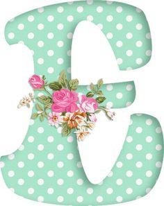 PAPIROLAS COLORIDAS: Abecedario con flores. Letras mayúsculas verdes, puntos blancos. Letra E. Vocal.: