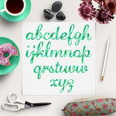 Watercolor Alphabet Clipart Green Font by NorthSeaStudio on Etsy Alphabet Signs, Letters, Watercolor Texture, Fonts, Scrapbooking, Clip Art, Digital, Green, Etsy