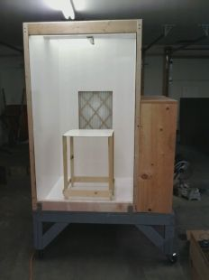 Repurpose a dead dishwasher into a spray paint booth for Powder coating paint booth