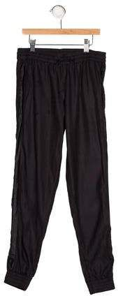 Girls' black Vince lightweight mid-rise joggers with tonal stitching throughout, dual seam pockets, faux leather trim at sides and drawstring at elasticized waist. Jogger Pants, Joggers, Harem Pants, Athletic Pants, Tuxedo, Girls, Leather, Black, Fashion