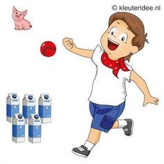Spel 7: Melkpakken gooien, speldag thema boerderij voor kleuters, kleuteridee.nl , farm games for preschool field day.