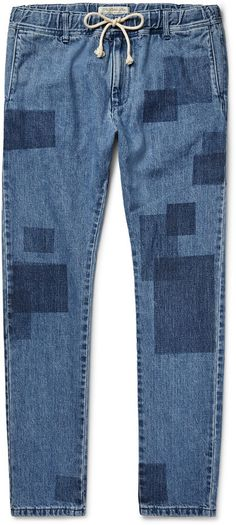 $300, Remi Relief Slim Fit Patchwork Effect Denim Jeans. Sold by MR PORTER. Click for more info: https://lookastic.com/men/shop_items/445061/redirect