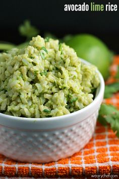 avocado lime rice from The Weary Chef
