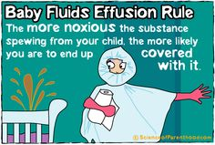 #Baby Fluids Effusion Rule: The more noxious the substance spewing from your child, the more likely you are to end up covered in it. Been there! Done that! Bought the Hazmat suit!