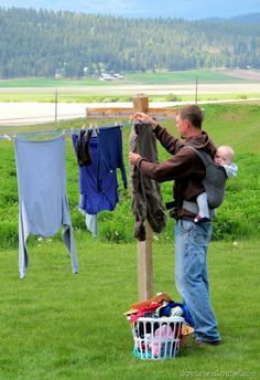 Now THAT'S my kind of man...watchs the kid and does laundry!  LOL