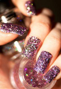 purple glittery nails