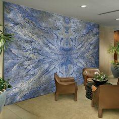 Azul Bahia Granite as artwork. One slab of granite to make a very bold statement for a wall - This is just stunning Blue Granite, Granite Slab, Stone Countertops, Granite Flooring, Kitchen Countertops, Stone Flooring, Stone Slab, Marble Stones, Italian Marble Flooring