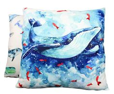 Blue Whales  Pillow Cover  18 x 18 Throw Pillow  Home