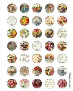 1 inch round images Printable Download Digital Collage by 300dpi, $3.50