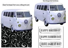 white split screen campervan over the edge card on Craftsuprint - Add To Basket!