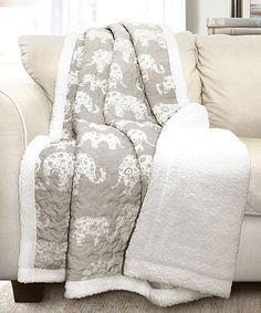 Look at this #zulilyfind! Soft Gray Elephant Parade Sherpa Throw - Maybe I can recreate this one!