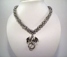 Dragon necklace mens jewelry chainmaille by Eternalelfcreations, $36.00