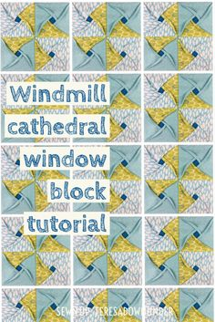 Video tutorial: Windmill cathedral window - quilt block (Sewn up, TeresaDownUnder) Cathedral Window Patchwork, Cathedral Window Quilts, Cathedral Windows, Quilting Tips, Quilting Tutorials, Sewing Tutorials, Sewing Crafts, Origami Quilt Blocks, Puffy Quilt