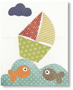 Nursery Decor Boy - baby boy nursery - kids wall art - kids print - kids boat - nursery art - fish - Oh Mon Bateau print from Paris Diy Nursery Decor, Nursery Art, Baby Decor, Applique Patterns, Applique Quilts, Art Patterns, Applique Ideas, Art Wall Kids, Art For Kids