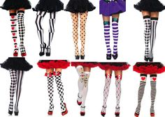 ALICE IN WONDERLAND QUEEN OF HEARTS MAD HATTER COSTUME HOLD UP STOCKINGS TIGHTS #LA #HoldUpsTights #Glamour