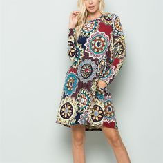 Details: Medallion print Round neck Long sleeve Has side pockets Made with soft and stretch well jersey fabric Made in the USA Sizing: Small Medium Large XL Plus Plus Plus Latest Fashion Dresses, Latest Dress, Special Occasion Dresses, Casual Dresses, Rompers, Stitch, Dress Styles, Long Sleeve, Fabric