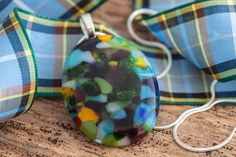 Manx Tartan Inspired Oval Pendant by GlonneyDesigns on Etsy