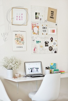 Love the fact that the table is a big shelf - so you avoid the legs. Takes up less space visually in the room, but still gives plenty of work space