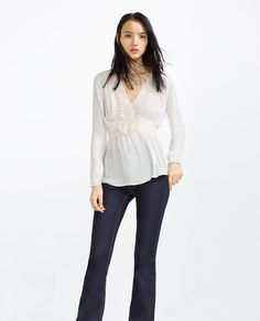 ZARA - WOMAN - BLOUSE WITH GUIPURE LACE FRONT